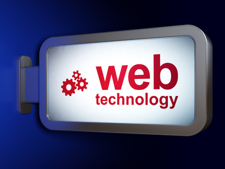 web technology: Web design concept: Web Technology and Gears on advertising billboard background, 3d render Stock Photo