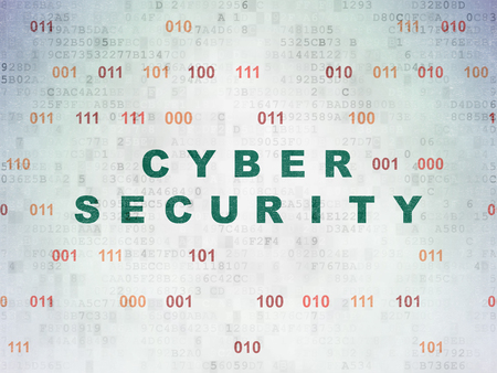 privat: Security concept: Painted green text Cyber Security on Digital Paper background with Binary Code