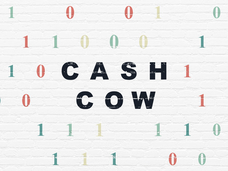 cash cow: Finance concept: Painted black text Cash Cow on White Brick wall background with Binary Code