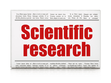 articles: Science concept: newspaper headline Scientific Research on White background, 3d render
