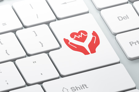 palm computer: Insurance concept: Enter button with Heart And Palm on computer keyboard background, 3d render Stock Photo