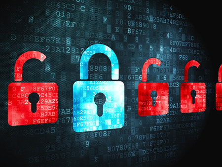 digital background: Security concept: pixelated Locks icon on digital background