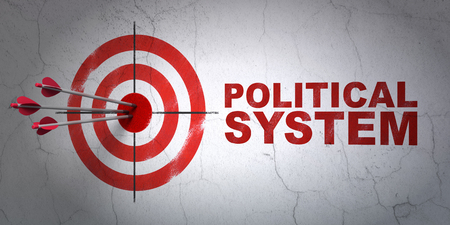 political system: Success politics concept: arrows hitting the center of target, Red Political System on wall background