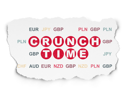 crunch: Business concept: Painted red text Crunch Time on Torn Paper background with  Currency