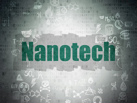nanotech: Science concept: Painted green text Nanotech on Digital Paper background with Scheme Of Hand Drawn Science Icons Stock Photo