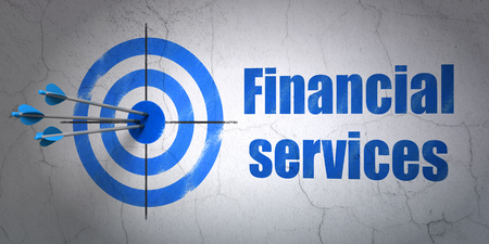 financial concept: Success banking concept: arrows hitting the center of target, Blue Financial Services on wall background