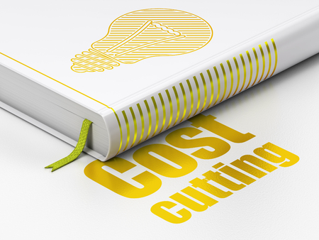closed ribbon: Finance concept: closed book with Gold Light Bulb icon and text Cost Cutting on floor, white background, 3d render Stock Photo