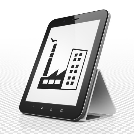 plant stand: Business concept: Tablet Computer with black Industry Building icon on display