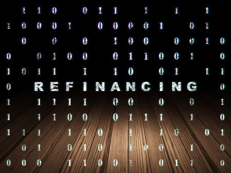 refinancing: Finance concept: Glowing text Refinancing in grunge dark room with Wooden Floor, black background with Binary Code