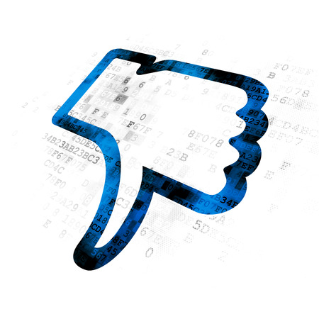 microblog: Social media concept: Pixelated blue Thumb Down icon on Digital background Stock Photo