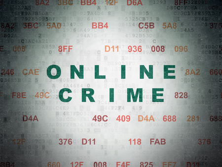 hexadecimal: Protection concept: Painted green text Online Crime on Digital Paper background with Hexadecimal Code Stock Photo