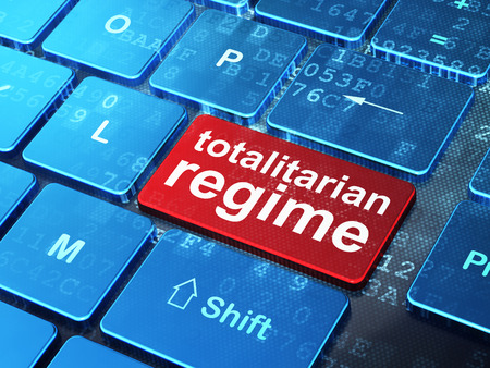 regime: Politics concept: computer keyboard with word Totalitarian Regime on enter button background, 3d render