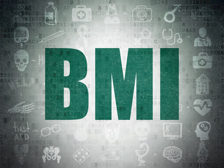 bmi: Medicine concept: Painted green text BMI on Digital Paper background with  Scheme Of Hand Drawn Medicine Icons