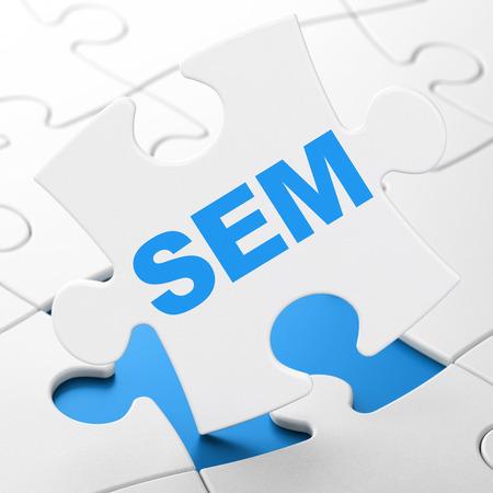 successful campaign: Marketing concept: SEM on White puzzle pieces background, 3d render