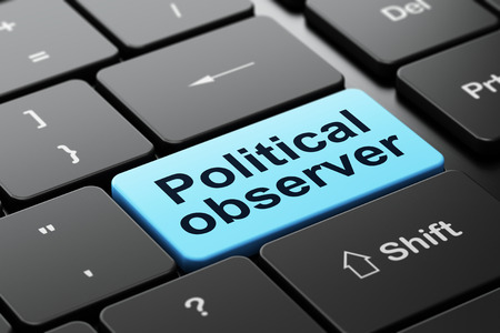 observer: Politics concept: computer keyboard with word Political Observer, selected focus on enter button background, 3d render
