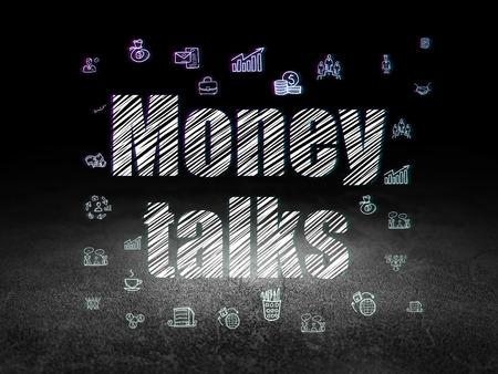 conversaciones: Finance concept: Glowing text Money Talks,  Hand Drawn Business Icons in grunge dark room with Dirty Floor, black background Foto de archivo