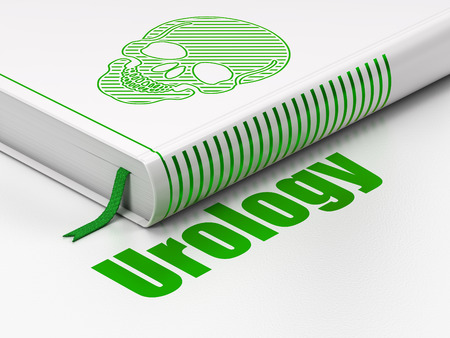 urology: Medicine concept: closed book with Green Scull icon and text Urology on floor, white background, 3d render