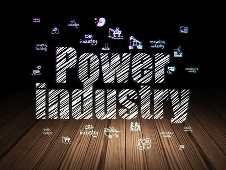 power industry: Industry concept: Glowing text Power Industry,  Hand Drawn Industry Icons in grunge dark room with Wooden Floor, black background