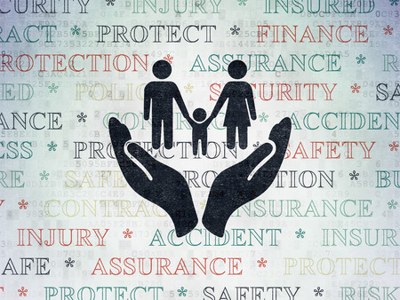 black family: Insurance concept: Painted black Family And Palm icon on Digital Paper background with  Tag Cloud Stock Photo