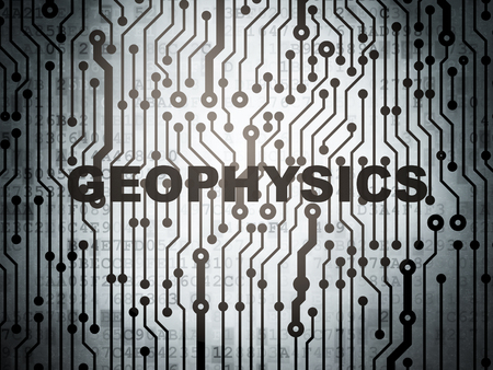 Science concept: circuit board with  word Geophysics, 3d render