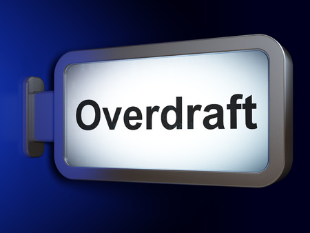 overdraft: Business concept: Overdraft on advertising billboard background, 3d render Stock Photo