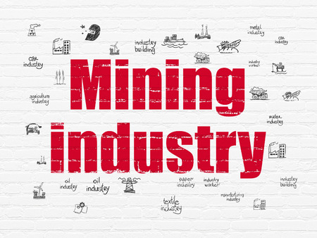 old mining building: Industry concept: Painted red text Mining Industry on White Brick wall background with  Hand Drawn Industry Icons