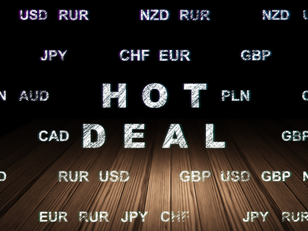 deal in: Finance concept: Glowing text Hot Deal in grunge dark room with Wooden Floor, black background with Currency