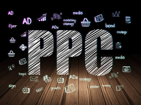 pr: Advertising concept: Glowing text PPC,  Hand Drawn Marketing Icons in grunge dark room with Wooden Floor, black background Stock Photo