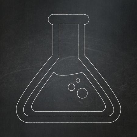 erlenmeyer: Science concept: Flask icon on Black chalkboard background