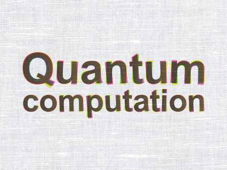computation: Science concept: CMYK Quantum Computation on linen fabric texture background Stock Photo