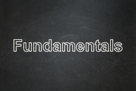 fundamentals: Science concept: text Fundamentals on Black chalkboard background