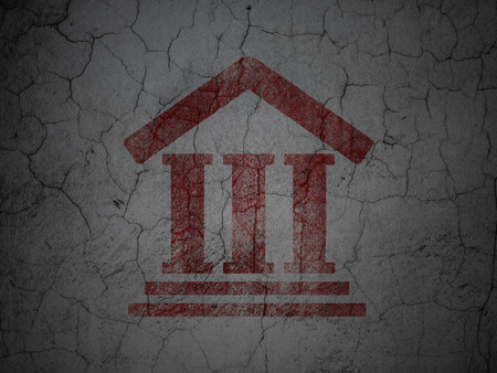 concrete court: Law concept: Red Courthouse on grunge textured concrete wall background Stock Photo