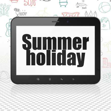 holiday display: Travel concept: Tablet Computer with  black text Summer Holiday on display,  Hand Drawn Vacation Icons background