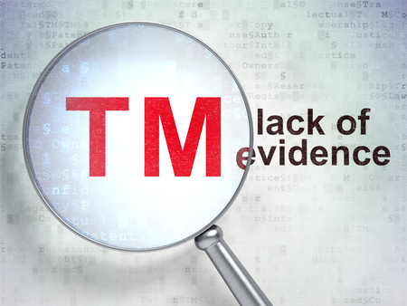 criminal act: Law concept: magnifying optical glass with Trademark icon and Lack Of Evidence word on digital background