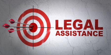 Success law concept: arrows hitting the center of target, Red Legal Assistance on wall background