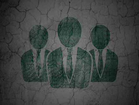 concrete court: Law concept: Green Business People on grunge textured concrete wall background