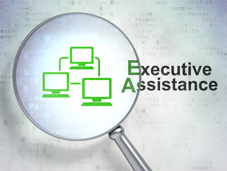 executive: Finance concept: magnifying optical glass with Lan Computer Network icon and Executive Assistance word on digital background