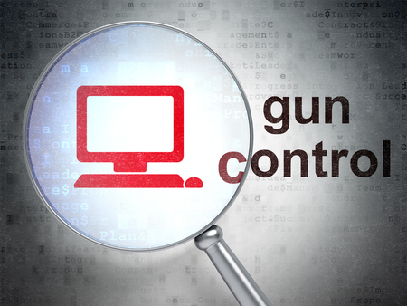 gun control: Security concept: magnifying optical glass with Computer Pc icon and Gun Control word on digital background