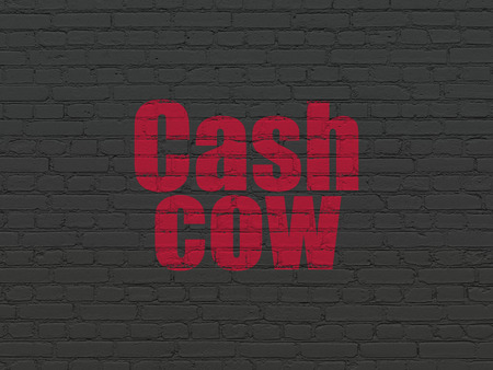 cash cow: Business concept: Painted red text Cash Cow on Black Brick wall background
