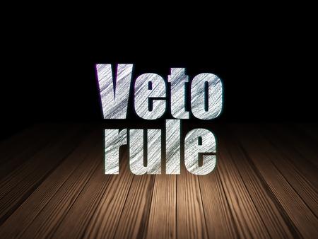 veto: Politics concept: Glowing text Veto Rule in grunge dark room with Wooden Floor, black background