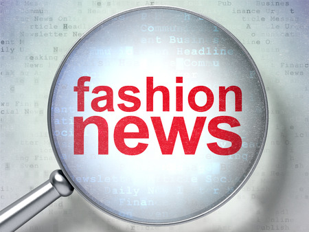 urgent announcement: News concept: magnifying optical glass with words Fashion News on digital background