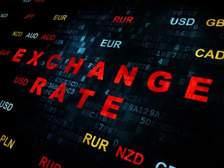 Valuta concept: Pixelated rode tekst wisselkoers op digitale muur achtergrond met valuta