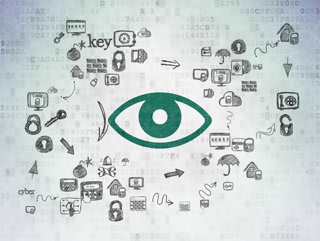 ojo verde: Privacy concept: Painted green Eye icon on Digital Paper background with Scheme Of Hand Drawn Security Icons
