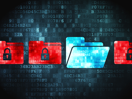 digital background: Security concept: pixelated Folder With Padlock icon on digital background