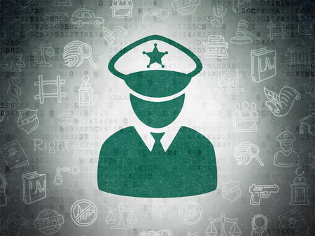 police: Law concept: Painted green Police icon on Digital Paper background with  Hand Drawn Law Icons Stock Photo