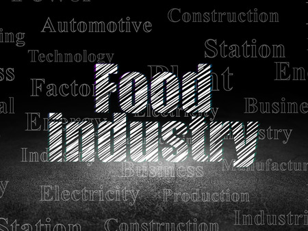 dirty room: Industry concept: Glowing text Food Industry in grunge dark room with Dirty Floor, black background with  Tag Cloud
