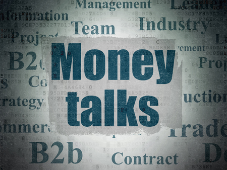conversaciones: Concepto de negocio: Pintado de texto azules Money Talks sobre fondo de papel digital con Tag Cloud Foto de archivo