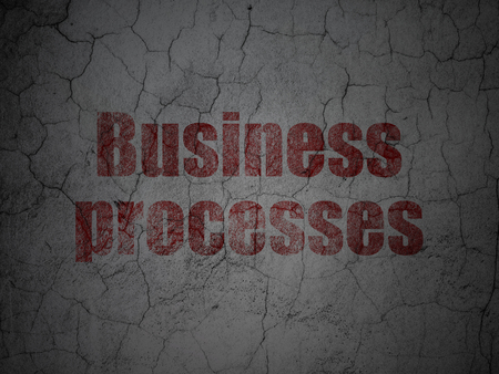 consult: Business concept: Red Business Processes on grunge textured concrete wall background Stock Photo