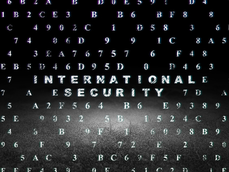international security: Protection concept: Glowing text International Security in grunge dark room with Dirty Floor, black background with Hexadecimal Code