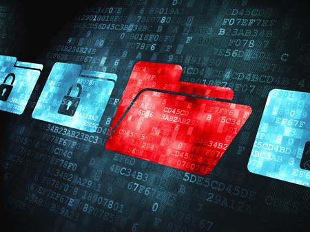 digital background: Finance concept: pixelated Folder With Padlock icon on digital background